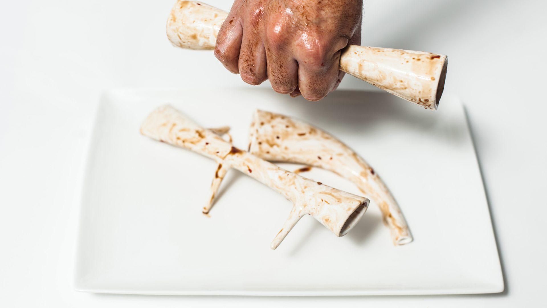 Next Nature: Bone Pickers, 2014. Bone Pickers, made of cultured meat around an ersatz bone scaffold.