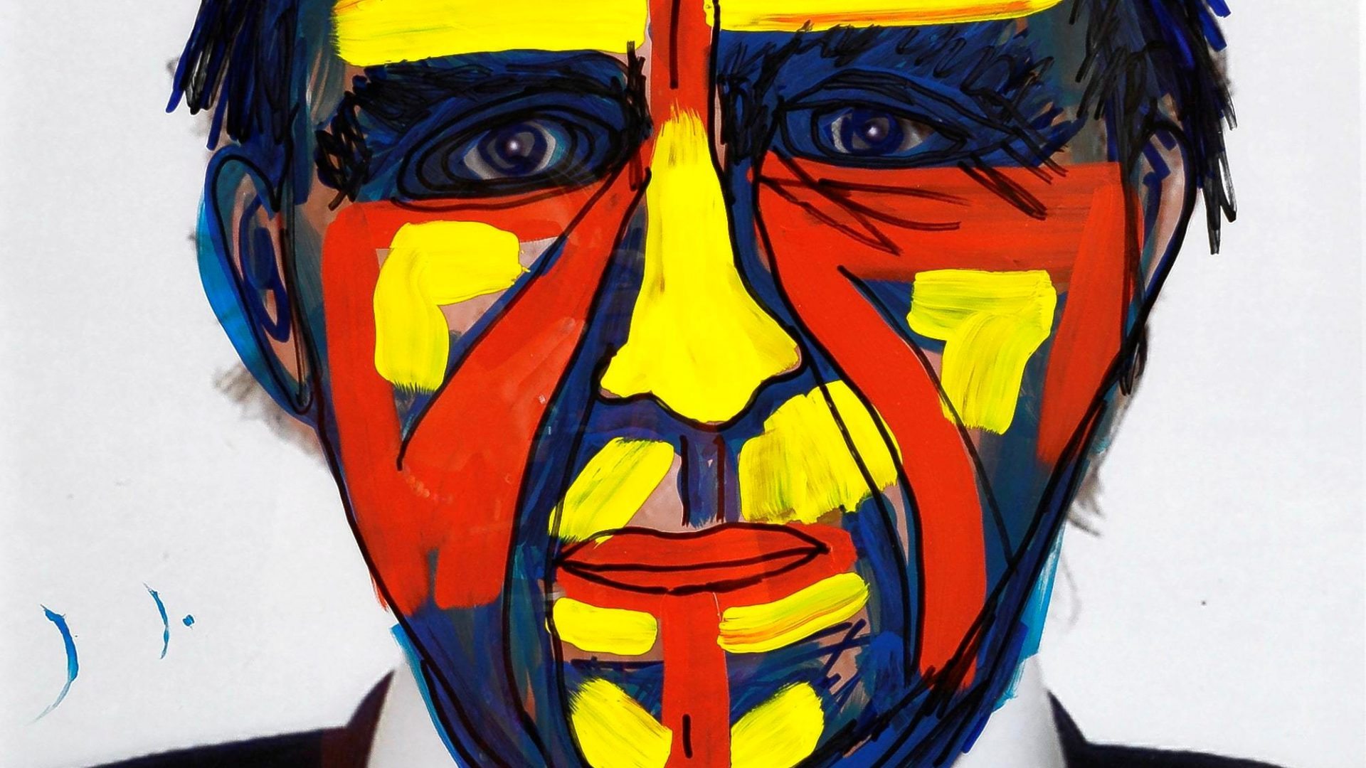 Jimmie Durham, Painted Self-Portrait, 2007, acrylic and sharpie on color photo, 83.5 x 61 cm, Courtesy Christine König Galerie, Vienna